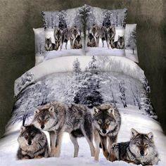 USA STOCK 4 Piece Wolf 3D Bedding Set Twin Snow Wolf in the Woods Print 3D Sets