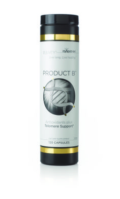 Product B is a revolutionary blend of complex botanicals and minerals uniquely designed to offer the best telomere-supporting product on the market.* Experience increased energy, improved fitness and a general feeling of youthfulness and vigor.