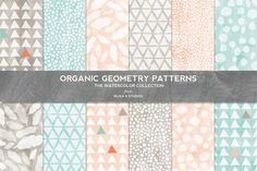 Organic Geometry Watercolor Patterns by Blixa 6 Studios on Creative Market