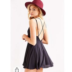 Urban outfitters chiffon strappy skater dress Silence& noise (urban outfitters brand) black strappy back dress. V neck. Size medium. Urban Outfitters Dresses Mini