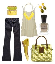 """""""lemon lime"""" by htotheb ❤ liked on Polyvore featuring Forever 21, Fantasy Jewelry Box, RSQ, Orla Kiely, David Aubrey, Carven, Deborah Lippmann, yellow, green and tan"""