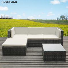 IKayaa Fashion PE Rotan Rieten Patio Tuinmeubelen Bankstel Kussens Outdoor Hoekbank Couch Tafel Set DE Voorraad