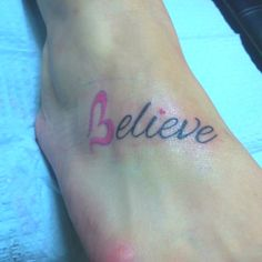Believe tattoo like this for my wrist but black letters i want white.