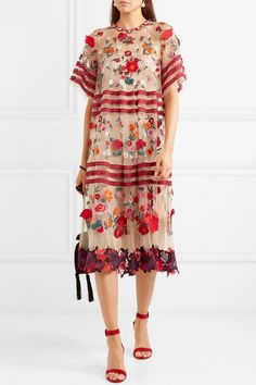 Biyan - Aurin Embellished Embroidered Tulle Midi Dress Top Designer Brands, Evening Gowns, Lace Trim, Designer Dresses, Fashion Online, Floral Tops, Tulle, Short Sleeve Dresses, Style Inspiration