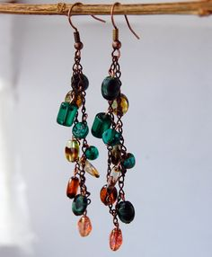 Teal and Brown Chain Dangle Earring by NewEnglandEarrings on Etsy, $12.50