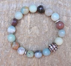 Boho Gemstone Stretch Bracelet Yoga Bracelet by GlitterFusion
