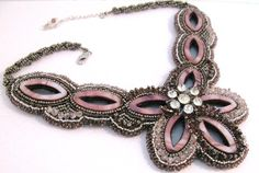 Bead Embroidery Necklace with vintage Brooch by colorsoulartistry, $165.00