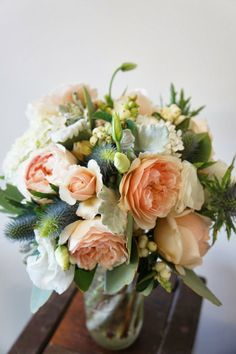 Sweet juliet rose   David Austin   wedding bouquet in apricot blue and white   Sugar Bee Flowers
