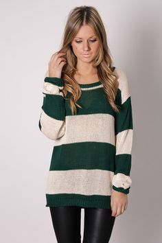 sali stripe knit- forest/creme with leather leggings