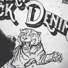 Morning sketching #alsdesignstudio #thedustyinklab #aksellarsen #whitetee #9000 #aalborg #denmark #danish #iloveprints #printnerd #print #vintage #worn #wornout #texture #grunge #denim #denimwear #jeans #jeanswear #vintagestyle #vintagefashion #artwork #sketch #drawing #digital #ink  #tiger