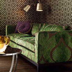 velvety brocadish palm leaf emerald upholstery fabric = fab-u-lous.