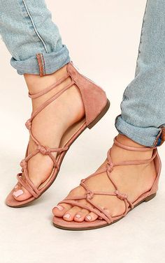 Rosabel Pink Suede Gladiator Sandals via @bestchicfashion