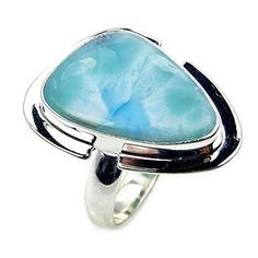 'Caribbean Waves' Sterling Silver Natural Dominican Larimar Ring, Size 8.5