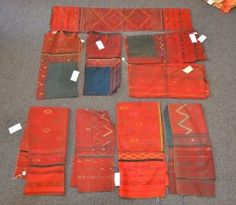 (8) Red Chuval woven textiles, 20th Century, South Asia : Lot 5131