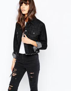 Immagine 1 di Waven - Giacca di jeans stretta e squadrata con fondo grezzo