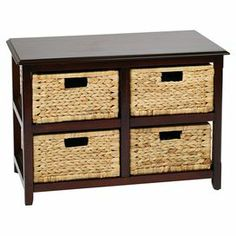 """With 4 basket drawers and a rich espresso finish, this solid wood cabinet is perfect for stowing work essentials and craft supplies.  Product: CabinetConstruction Material: Solid wood, veneer and rattanColor: EspressoFeatures:  Includes four natural basketsFully assembledDimensions: 20.5"""" H x 30.5"""" W x 15.75"""" D"""
