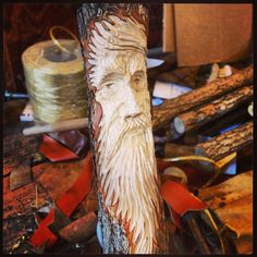 Walking Stick With Leather Wrap and Hand Carved Tree Spirit / Green Man / Gifts for Men / Brother / Hikers / Dads / Mushroom Hunters / Boys Wood Carving Faces, Dremel Wood Carving, Tree Carving, Wood Carving Patterns, Wood Carving Art, Hand Carved Walking Sticks, Wooden Walking Sticks, Walking Sticks And Canes, Walking Canes