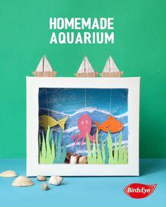 Home made Aquarium Summer Crafts For Kids, Paper Crafts For Kids, Cardboard Crafts, Projects For Kids, Diy For Kids, Diy Projects, Recycled Crafts Kids, Diy Crafts Hacks, Diy Crafts For Gifts