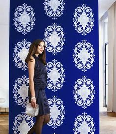 Blue and white wallpaper - crisp and bold