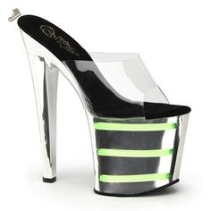 678e9c08524 Womens Neon Green UV Lines Chrome Platform Sandals 7 1 2 Inch Heels Slides  Size
