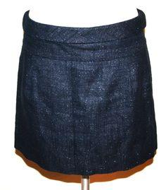 J. Crew Dark Navy/Silver Metallic Cotton/Linen Skirt