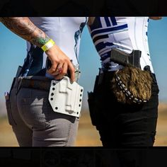 @antigonesuicide & @hairhunter rocking some of my Star Wars holsters at the #behindenemylinesshoot Photo by @John n_lawrence_cudal #wookieholster #chewieholster #kydex #starwars