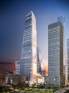 Global investment firm KKR & Co. has signed on for square feet of office space at 30 Hudson Yards, and to celebrate, developers Related Companies and Oxford Properties. Mix Use Building, Tower Building, High Rise Building, Building Structure, Future Buildings, Office Buildings, City Buildings, Hudson Yards, Amazing Buildings