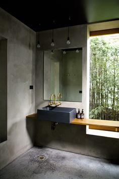 Stunning Concrete And Brass Bathroom - Gravity