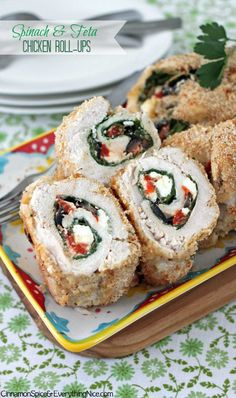 Spinach, Feta & Olive Chicken Roll-ups - To make low carb leave out the Pancko and bread crumbs and increase the amount of Parmesan cheese.