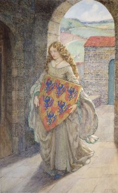 Lancelot and Elaine—Then to Her Tower She Climbed and Took the Shield, Thus Kept it and So Lived in Fantasy. The Idylls of the King, Alfred Tennyson    Eleanor Fortescue-Brickdale  1871-1945, via Maulleigh
