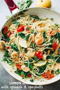 Lemon Shrimp and Spinach with Spaghetti - A quick and absolutely delicious spaghetti dinner tossed with shrimp, spinach, tomatoes, garlic, and lemon juice. recipes shrimp Lemon Shrimp and Spinach with Spaghetti Shrimp And Spinach Recipes, Lemon Shrimp Pasta, Shrimp Recipes For Dinner, Shrimp Recipes Easy, Seafood Recipes, Healthy Dinner Recipes, Cooking Recipes, Seafood Pasta, Cooking Pasta
