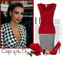 """~ Houndstooth ~ For ""Houndstooth"" Contest"" by cashmere-rose ❤ liked on Polyvore"