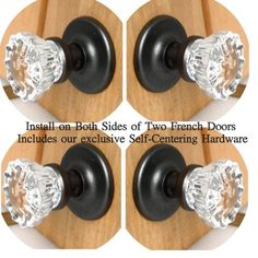 KNOBS On Both Sides of Two FRENCH DOORS Two Complete ORB FRENCH DOOR Knob Set