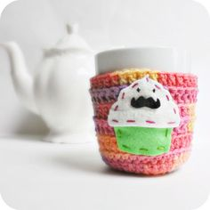 Mustache Cupcake funny coffee mug cozy handmade by KnotworkShop, $15.00