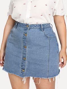 Shop Plus Raw Hem Button Through Denim Skirt online. SheIn offers Plus Raw Hem Button Through Denim Skirt & more to fit your fashionable needs. Chubby Fashion, Curvy Girl Fashion, Plus Size Fashion, Fashion Black, Work Fashion, Unique Fashion, Fashion Fashion, Vintage Fashion, Curvy Girl Outfits