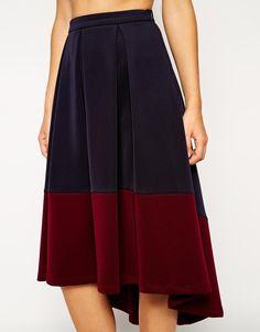 ASOS | ASOS Midi Skirt With Contrast High Low Hem at ASOS