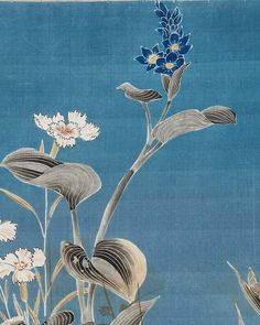 """"""" Textile sample. Japanese, Late Edo or early Meiji era, 19th century. Textile sample with design of carnations and lily-like flowers in white, reddish-orange, dark blue, yellow,..."""