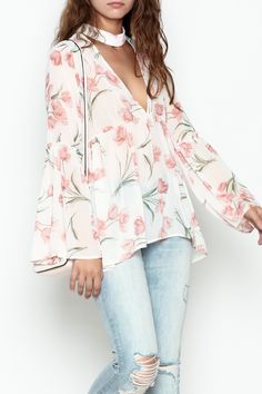 c0e21a9c7e647 Long sleeve sheer floral print top with keyhole top. Sheer Floral Top by  Audrey.