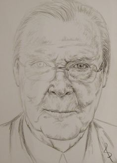 Pencil portrait of actor Sir Roger Moore RIP by Sophie E Tallis
