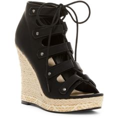 Michael Antonio Gizi Ghilli Platform Wedge Sandal ($37) ❤ liked on Polyvore featuring shoes, sandals, black, espadrille sandals, wedge sandals, black espadrille sandals, black lace up sandals and black platform sandals