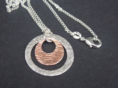 Solid Sterling Silver and copper disc pendant with sterling silver chain