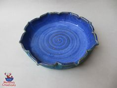 Floral Edge Pie Plate  Blue and Turquoise by MudbugCreations
