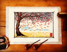 Linocut Prints, Paper Background, Washi, Lino Cuts, Colours, Autumn, Spring, Frame, Cherry