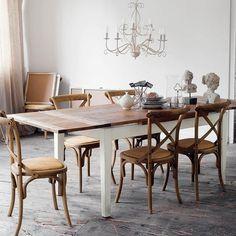 Mesa de comedor extensible de madera maciza An. 160 cm