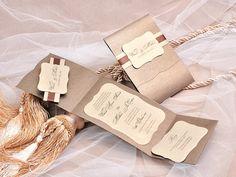 Pocket Fold Luxury Wedding Invitation Brown by 4LOVEPolkaDots, $6.25