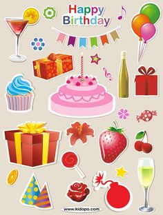 Free Happy birthday party printable stickers