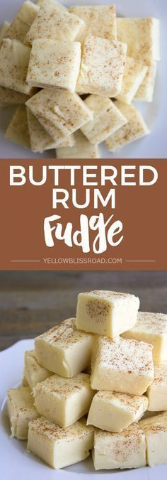 Buttered Rum Fudge is a decadent treat you won't be able to resist! via @yellowblissroad #rumdrinks
