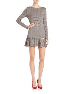 RED Valentino - Houndstooth Dropped-Waist Dress