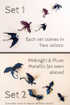 Hello Game of Thrones fans!  Set includes 5 (or 10) detailed 3D dragon silhouettes. Each dragon is a work of art, carefully designed and hand folded by me for a unique pop-off-the-wall effect. They come in an assorted size range as seen in the images, ranging from 2-5 inches long (from nose to tail). Midnight and plum metallic are the default colors, if youd like something different please view the color chart and use the note to seller box during checkout to specify your color choice…