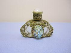 Czech Vintage Perfume Bottle Filigree Overlay Carved Cabochon Stone | eBay